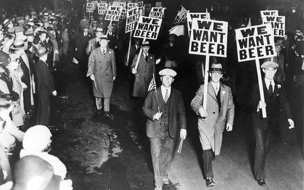 Marcha contra la prohibición del alcohol, EEUU, 1929