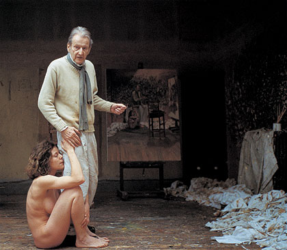 The painter surprised by a naked admirer (foto del making off)