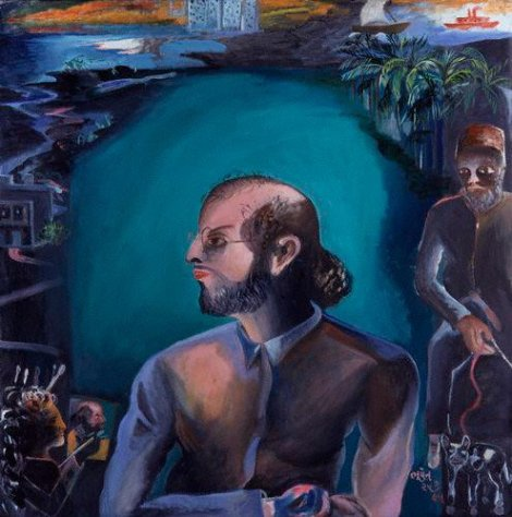 "Retrato de Rushdie, ""The Moor,"" por Bhupen Khakhar, National Portrait Gallery, Londres."