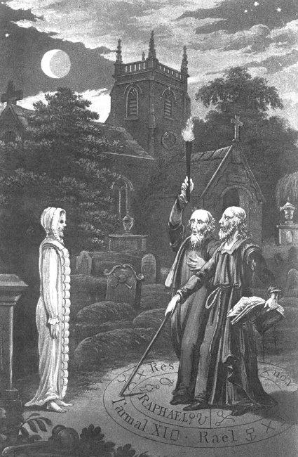 John Dee y Edward Kelly invocando a un muerto. Tomado de www.lafelguera.net